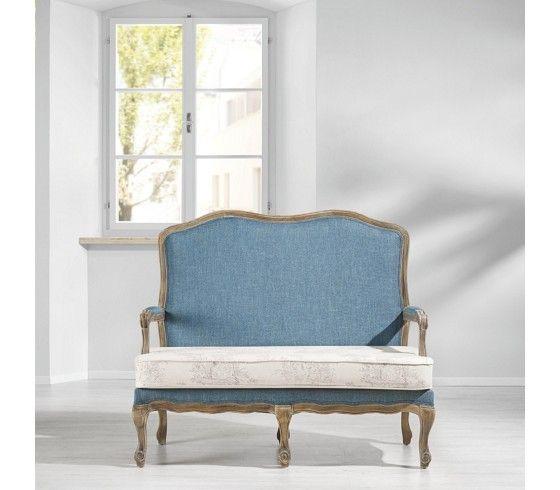 2 Sitzer Bank in Blau und Weiß ein Hingucker im barocken