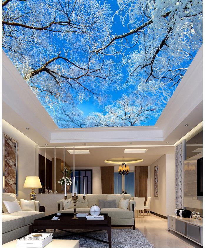 Blau sky tree decke wohnzimmer TV hintergrund schlafzimmer