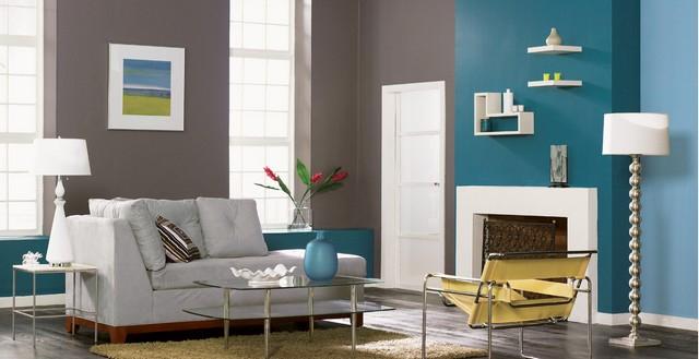 Blaue Wandfarbe Graue Mbel Wohnzimmer Wände Farbe