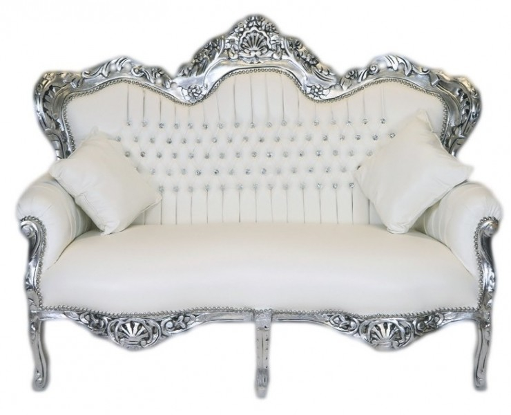 Casa Padrino Barock 2er Sofa Master Weiß Lederoptik