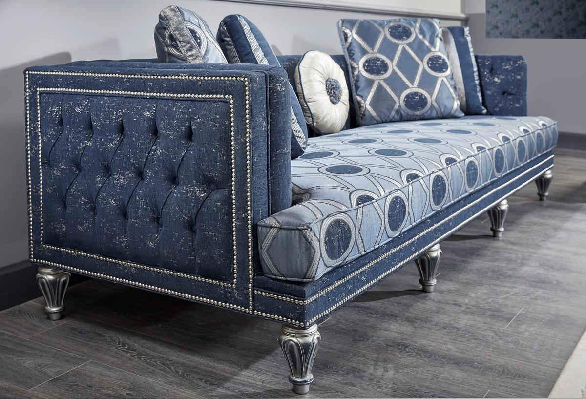 Casa Padrino Luxus Barock Wohnzimmer Set Dunkelblau
