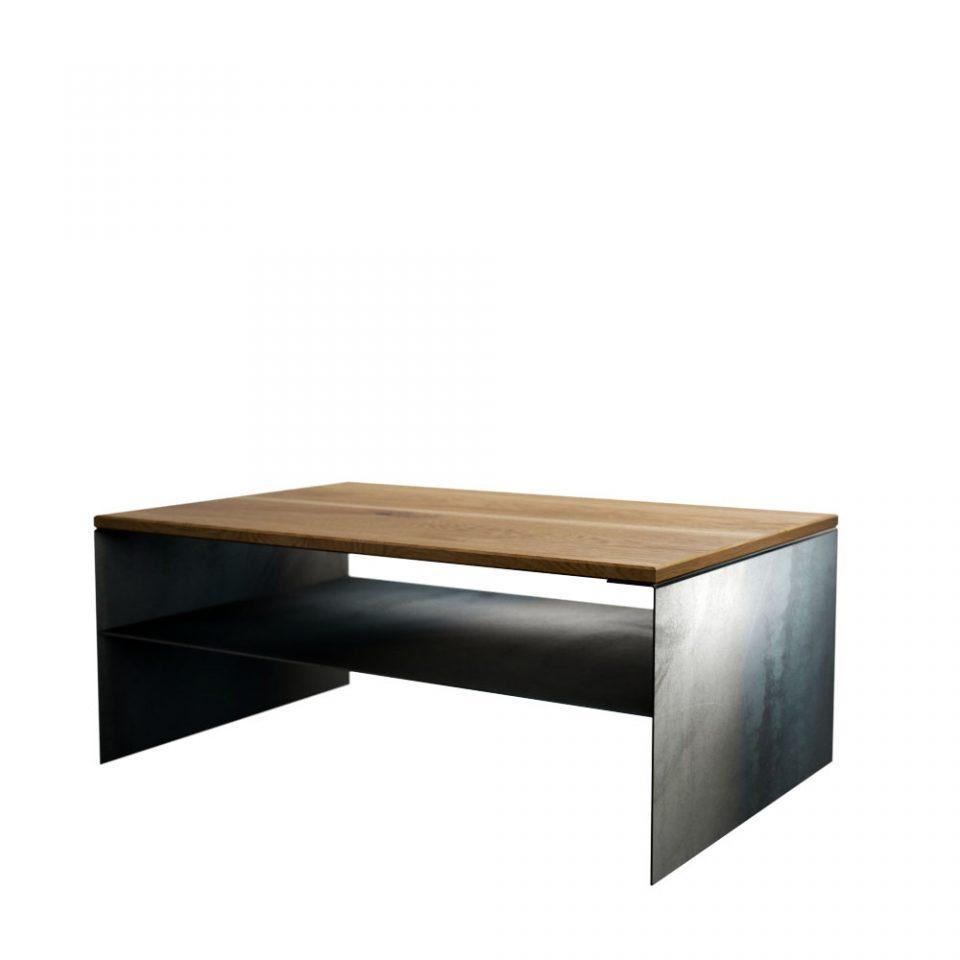Couchtisch Metall Optiktahl Holz Modern Eiche Design Linea