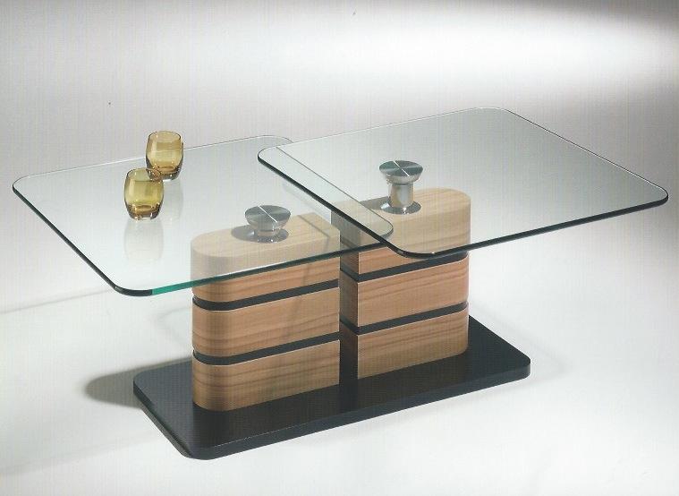 Couchtisch mit 2 schwenkbaren 12 mm Glasplatten