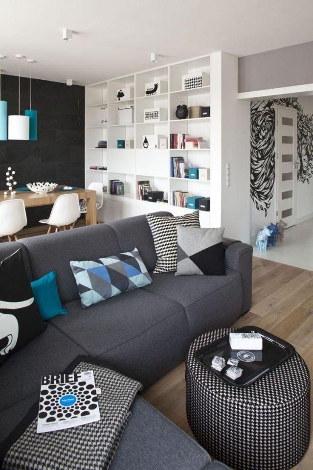 dekovorschläge wohnzimmer essbereich schwarze akzentwand
