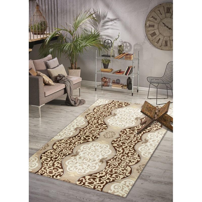 Designer Teppich Wohnzimmer Barock Muster braun gold