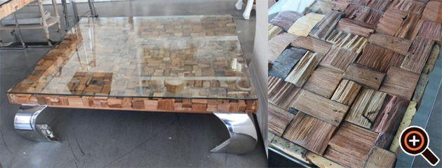Designer Tisch – Couchtisch fürs Wohnzimmer – Holz Glas