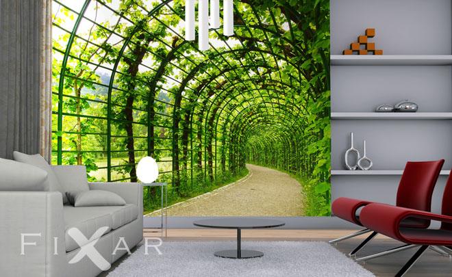 Ein Tunnel zu Ihrem Garten Fototapete fürs Wohnzimmer