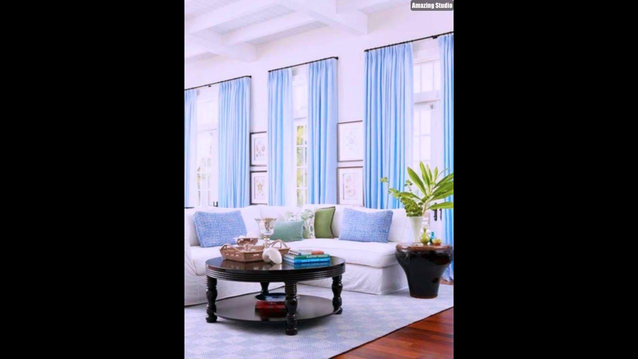 Garnitur Wohnzimmer Ideen Gardinen Vorhänge Blau