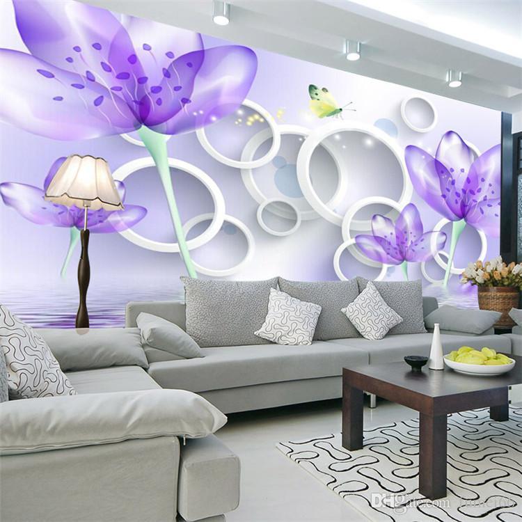 Großhandel 3D TV Hintergrund Großes Wandbild Nahtlose