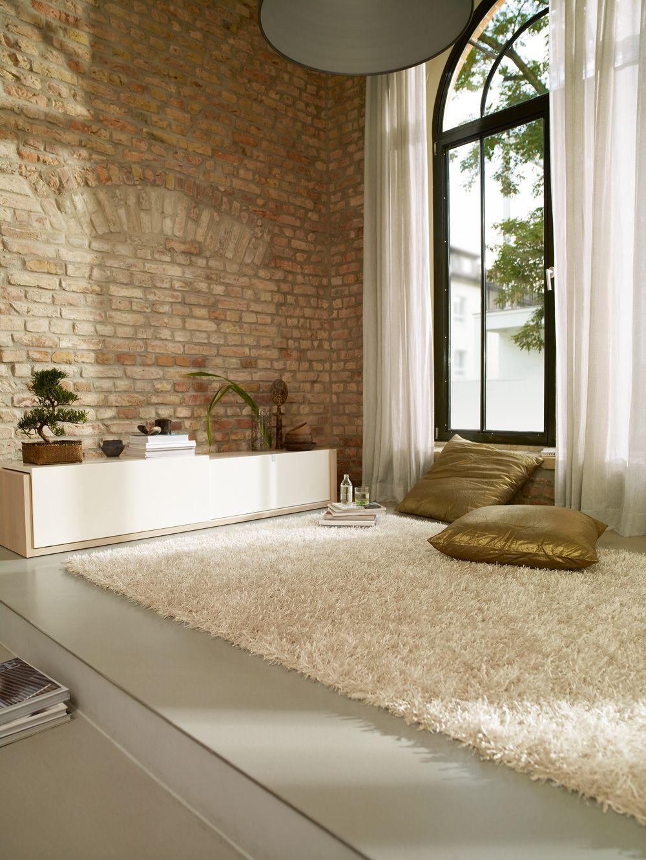 Hochflor Teppich Cool Glamour Weiß