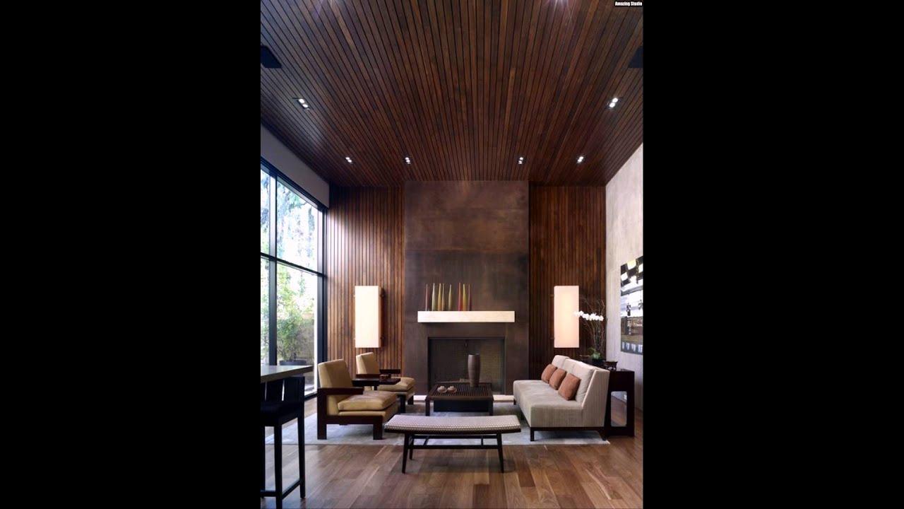 Holz Verkleidung Wand Decke Kaminofen Wohnzimmer