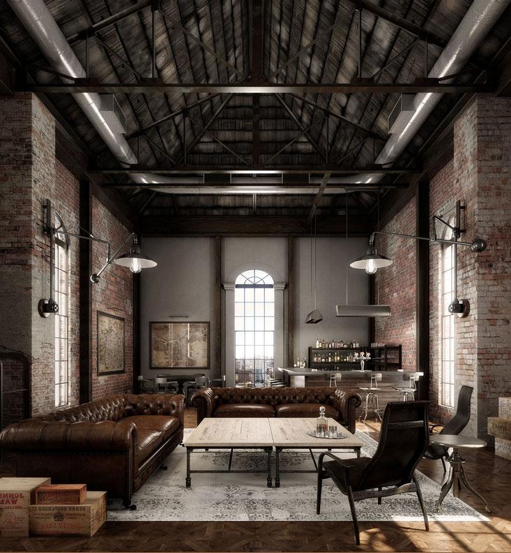 Industrial wohnzimmer offene Küche mit backsteinwand