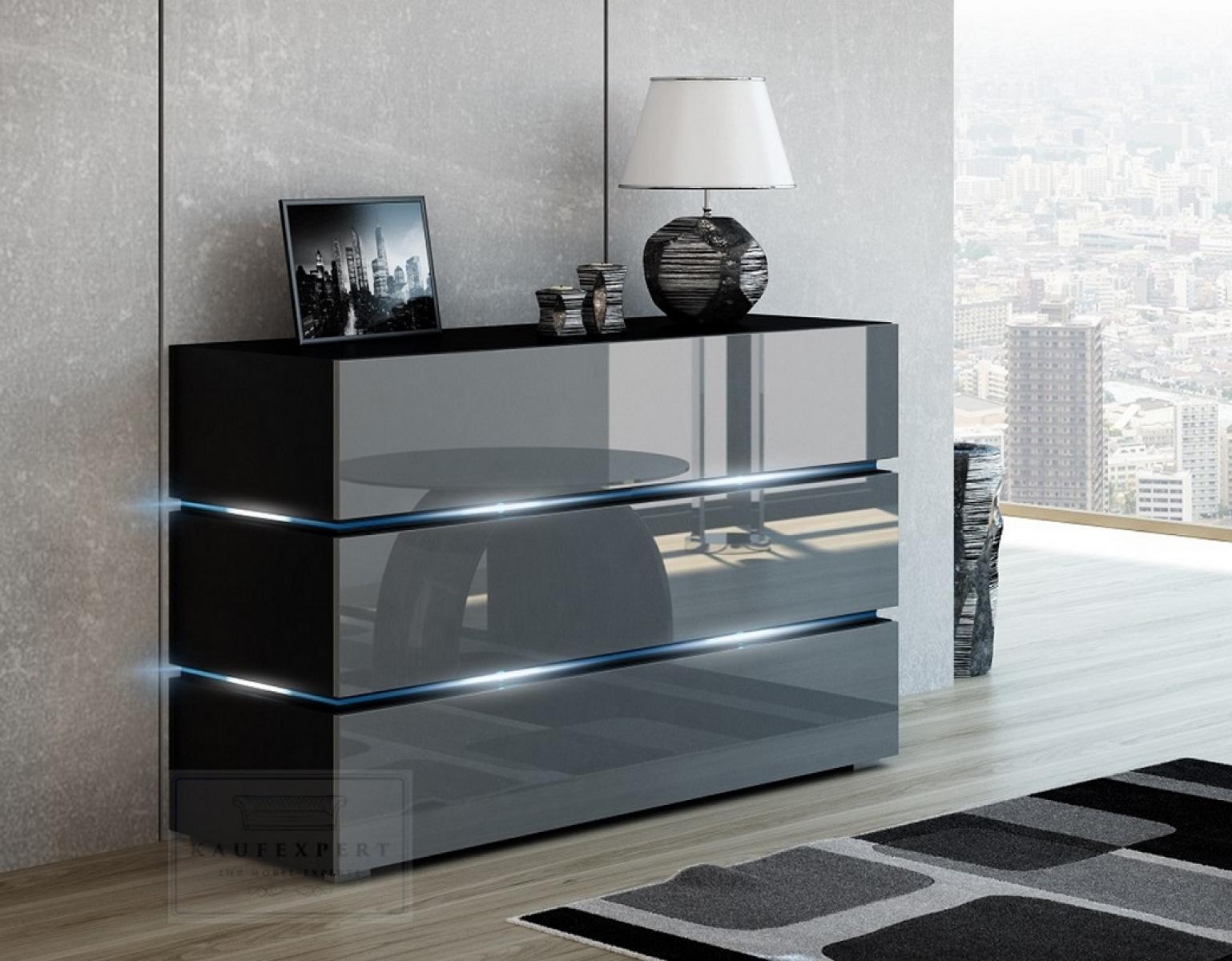 KAUFEXPERT Kommode Shine Sideboard 120 cm Grau Hochglanz