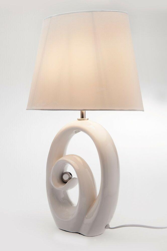 Keramiklampe Tischlampe Lampenschirm Kunstseide Wohnzimmer