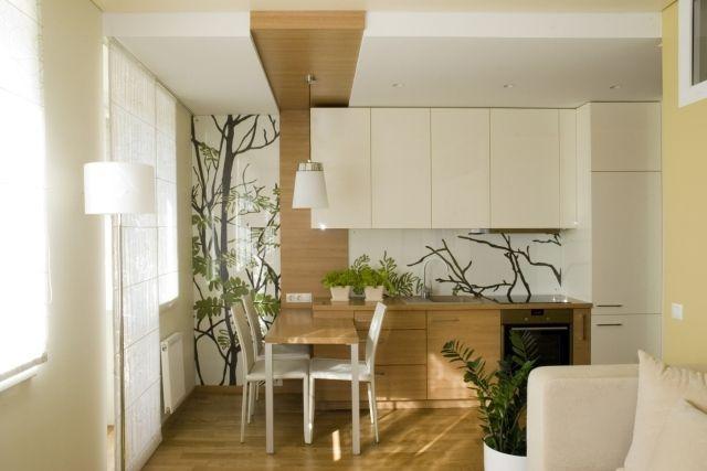kleines wohnzimmer mit offener küche holz creme