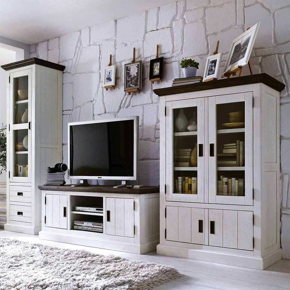 Landhaus Wohnwand in Weiß Braun
