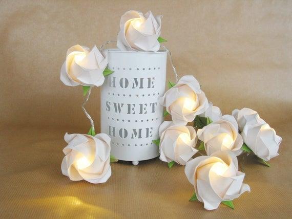 Lichterkette große Rosen in weiß Lampe für Wohnzimmer