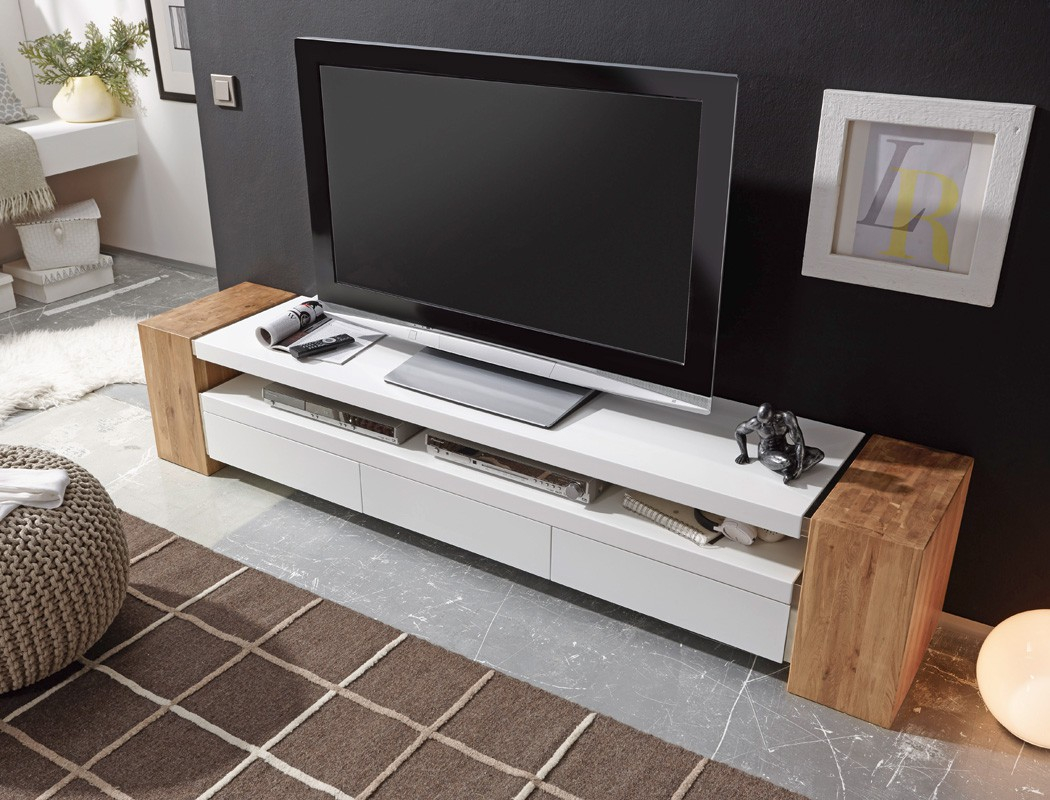 Lowboard 200x40x40 cm weiß Eiche TV Board TV Möbel TV