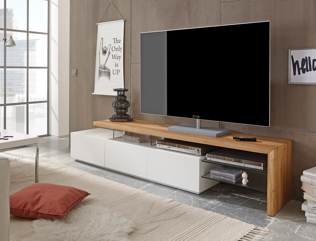Lowboard 204x40x44cm weiß Eiche TV Board TV Möbel TV