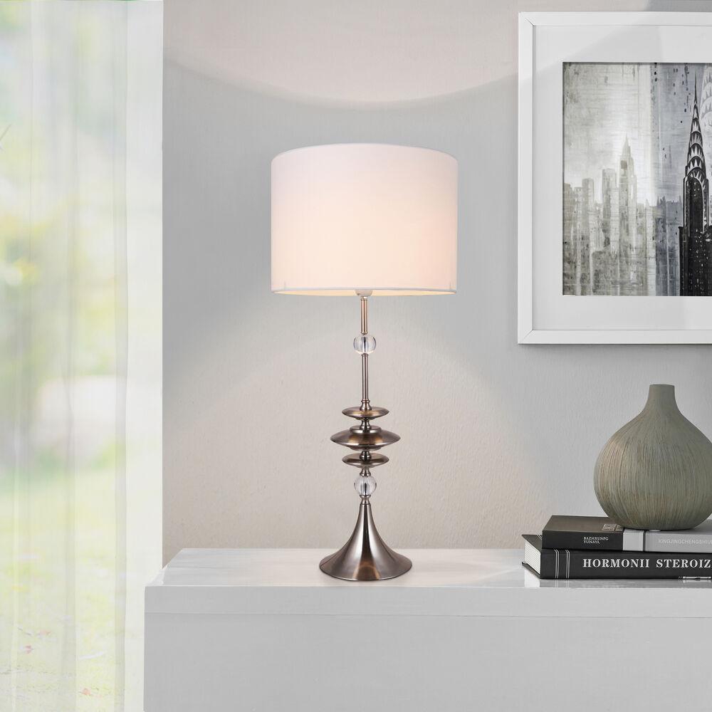 [luxo] Große Tischleuchte Weiß Tischlampe H 88cm Lampe