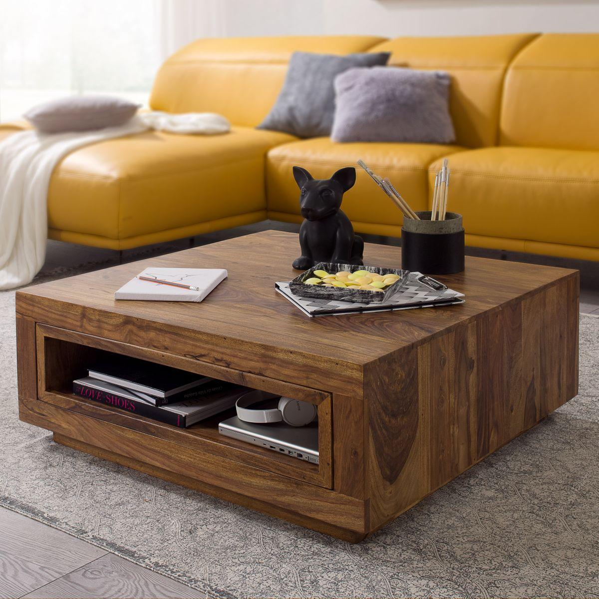Massiver Couchtisch FLORA Holz Sheesham 88 x 88 x 35 cm