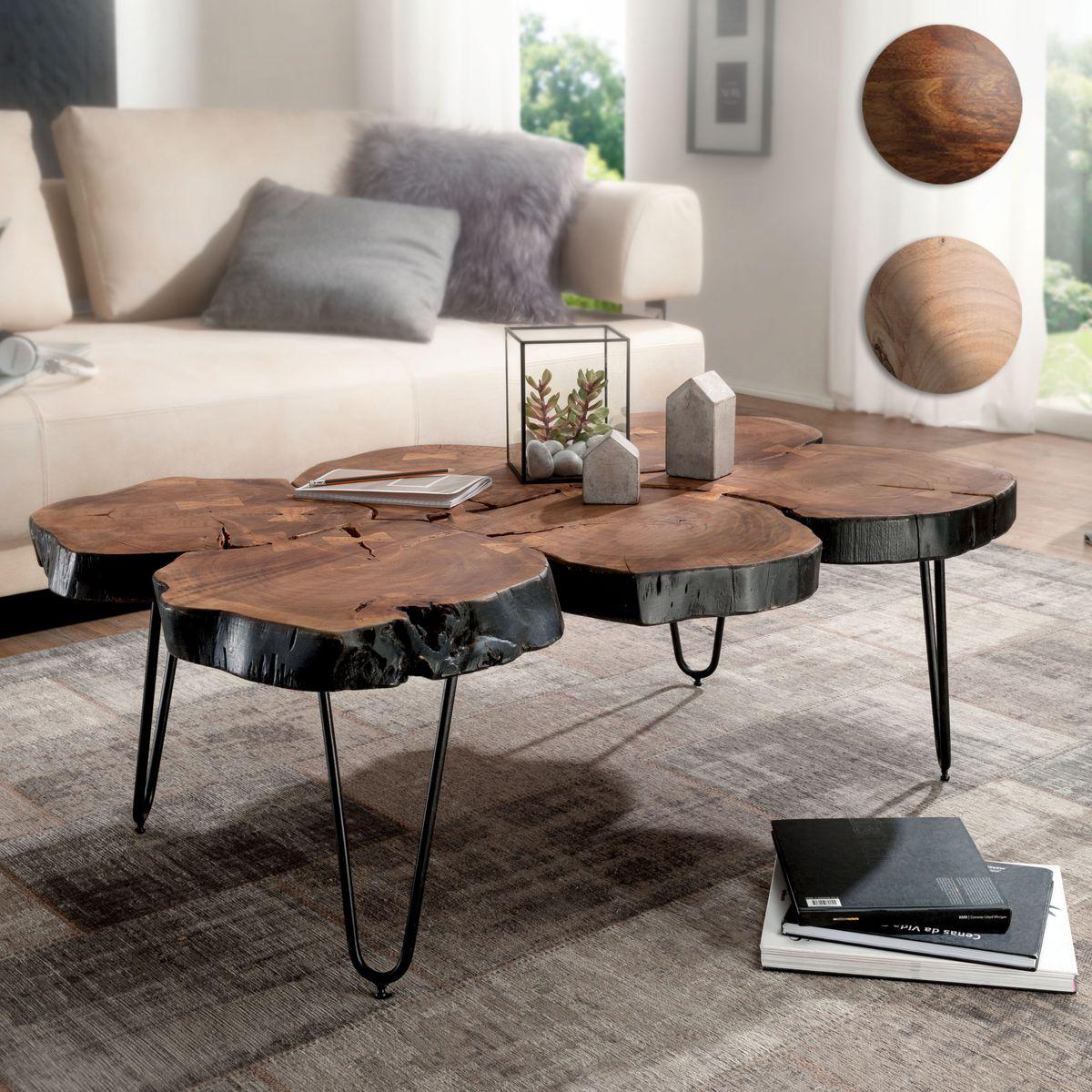 Massiver Couchtisch HARLEM 115 cm Baumstamm Tisch