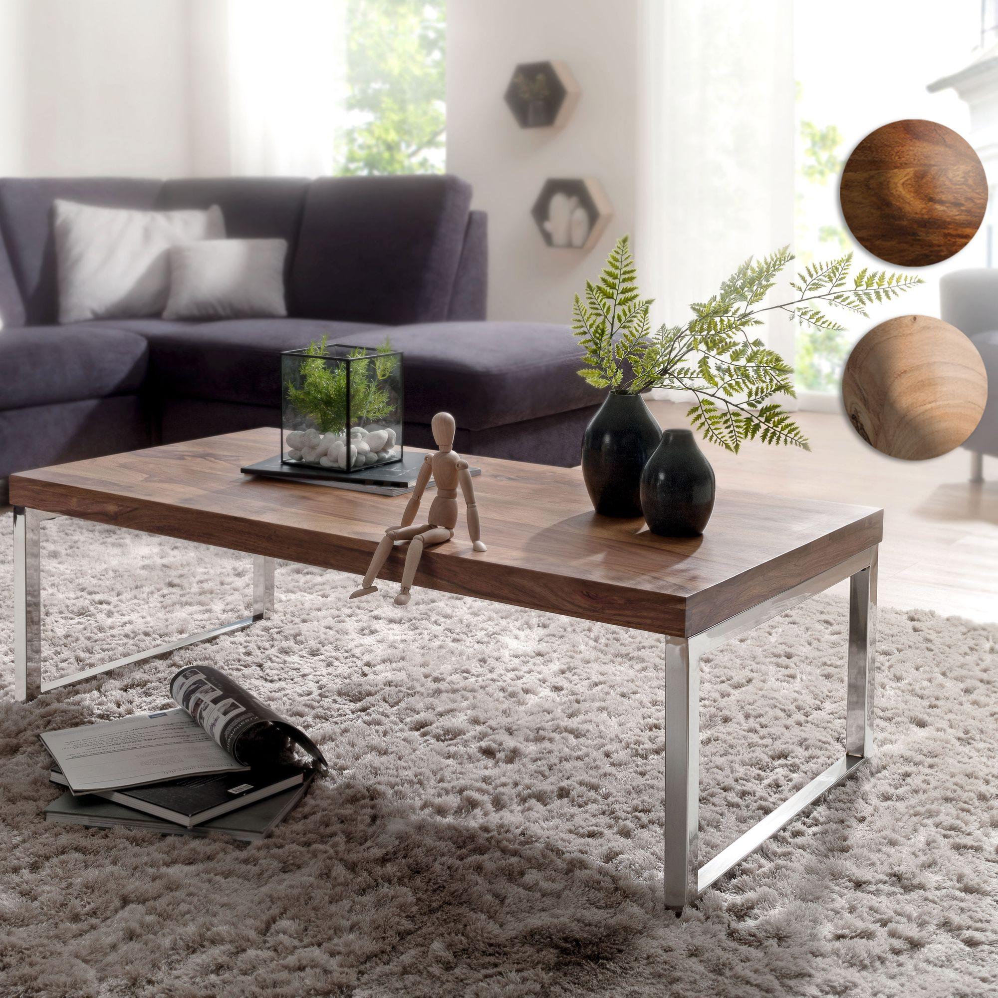 Massiver Couchtisch JAVA 120cm Wohnzimmertisch Holz Tisch