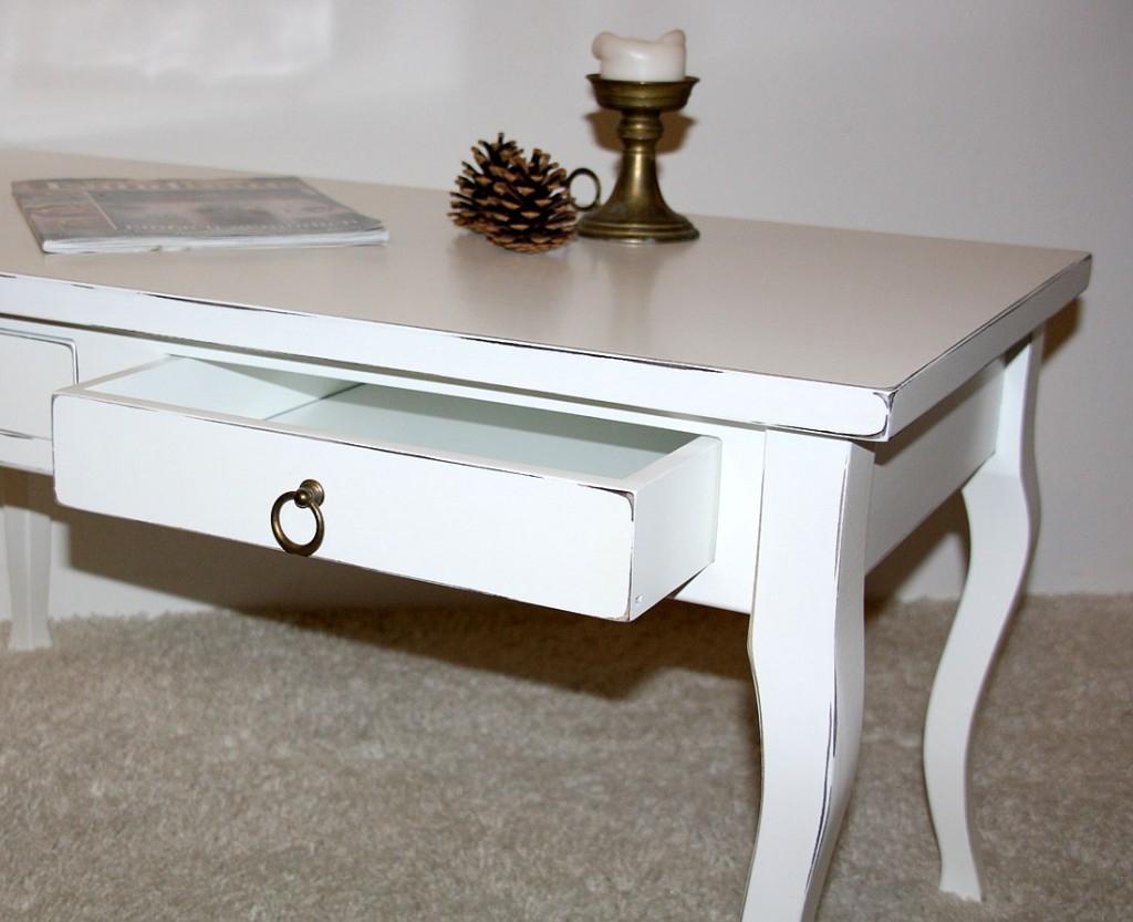 Massivholz Tisch Couchtisch Shabby Sofatisch weiß