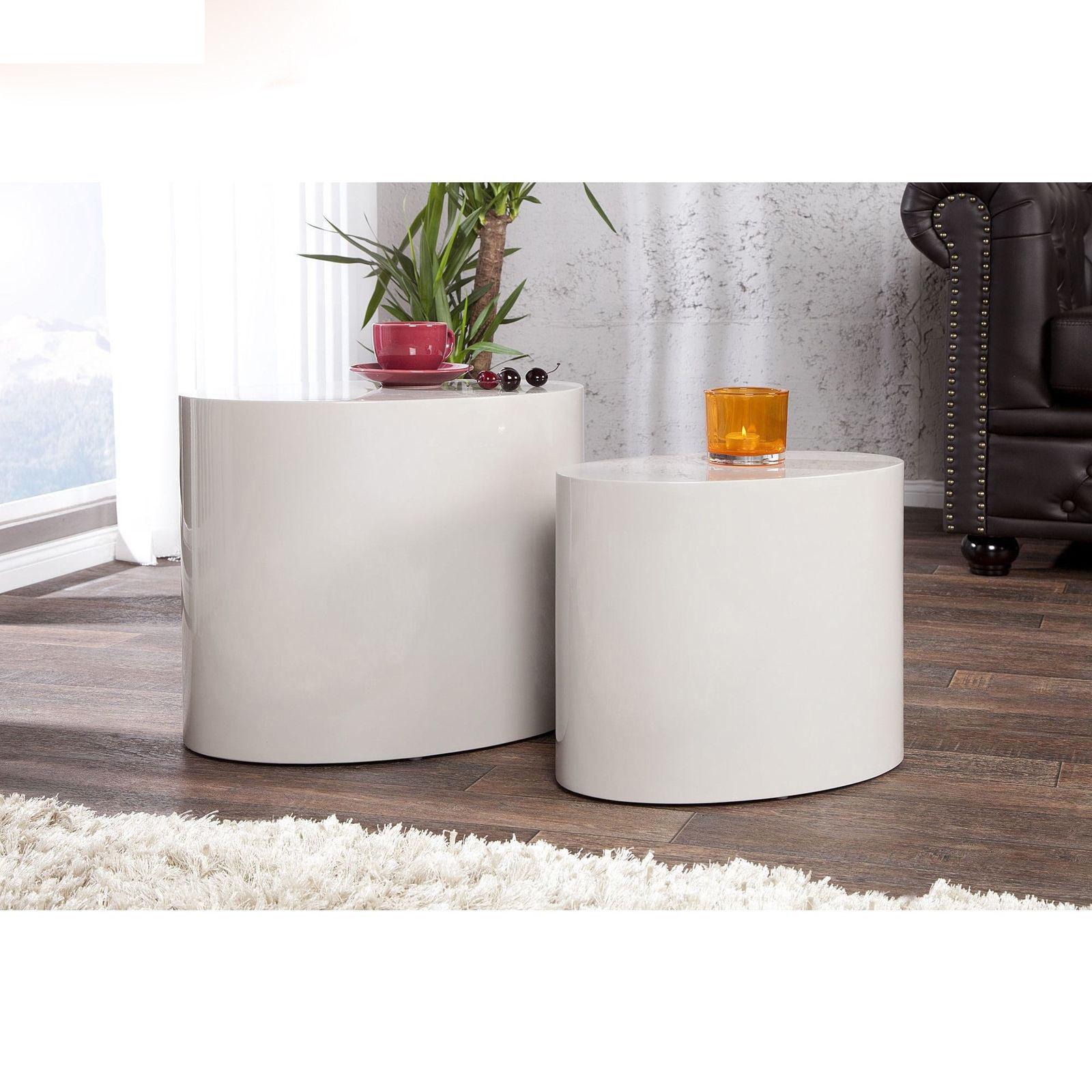 Modern Kaffeetisch Weiß Couchtisch Beistelltisch 2er Set