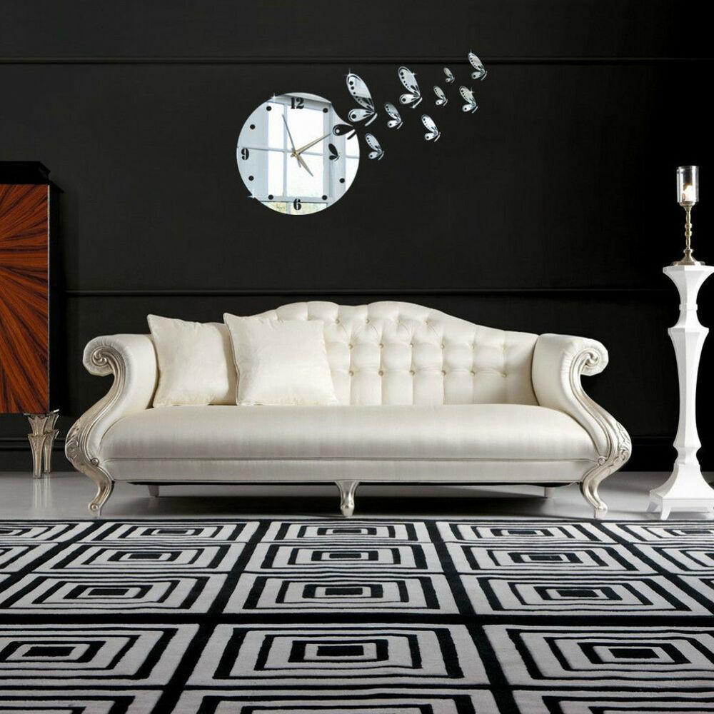 Moderne Wanduhr Wandtattoo Spiegel Uhr Wohnzimmer fliegen