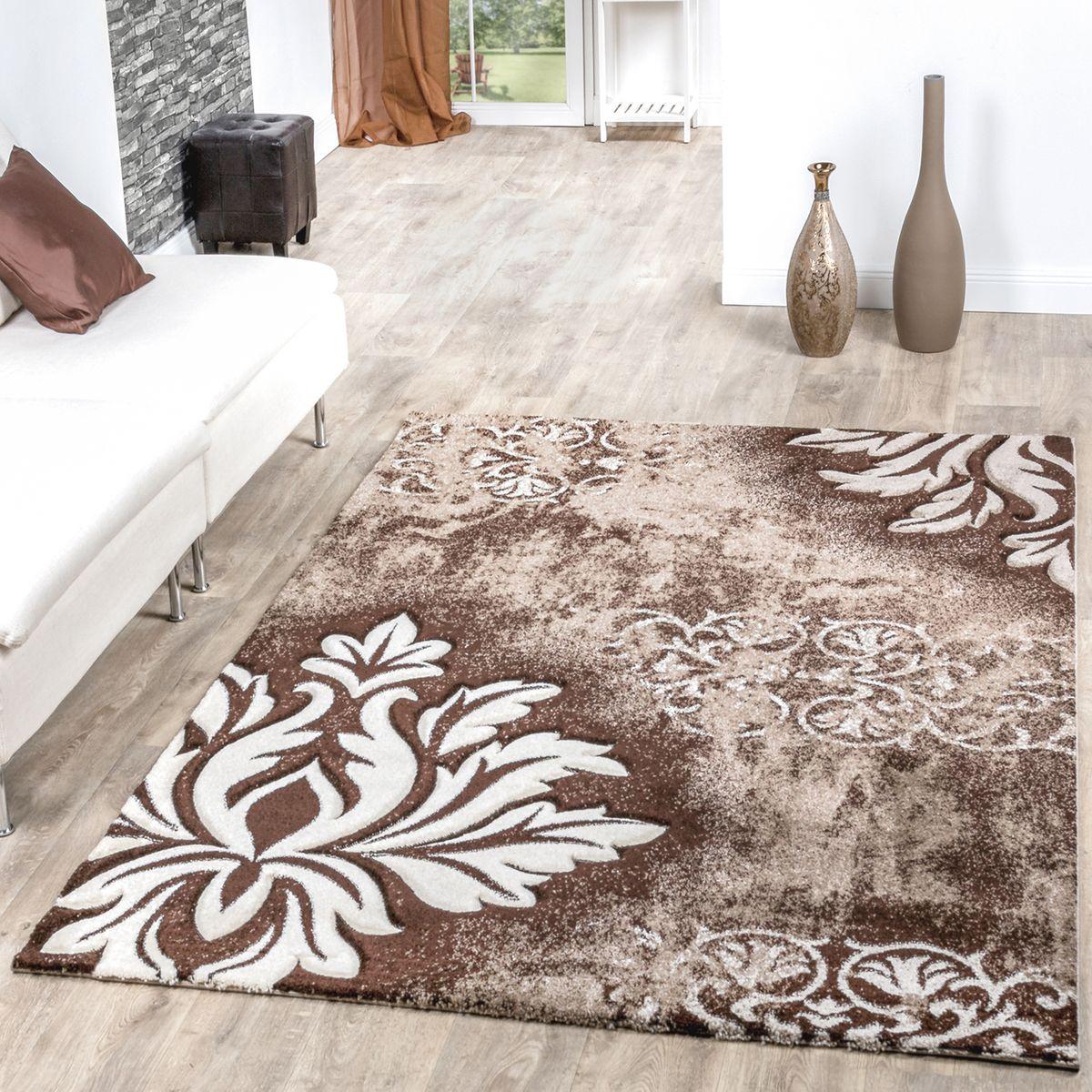 Moderner Teppich Wohnzimmer Kurzflor Teppich Blumen Muster