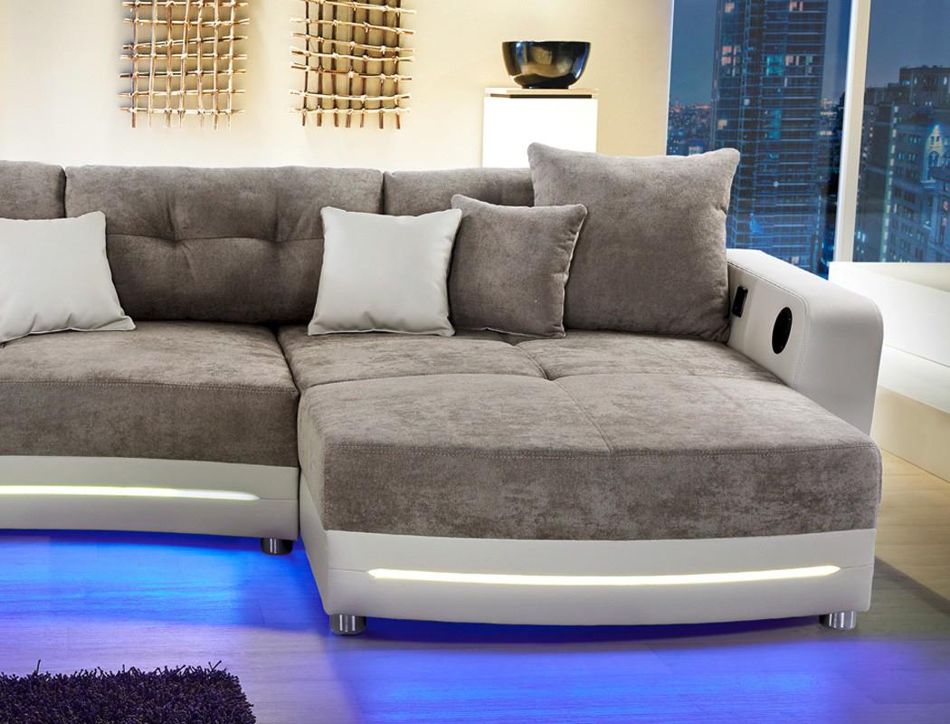 Multimedia Sofa Larenio HiFi Wohnlandschaft 322x200cm grau
