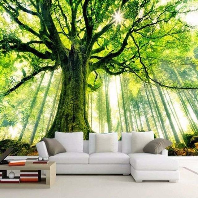 Nach 3D Foto Tapete Baum Wald Großes Wandbild Wand Malerei