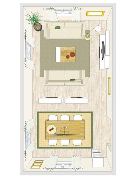 Raumteiler sorgen für Veränderung im Wohnzimmer