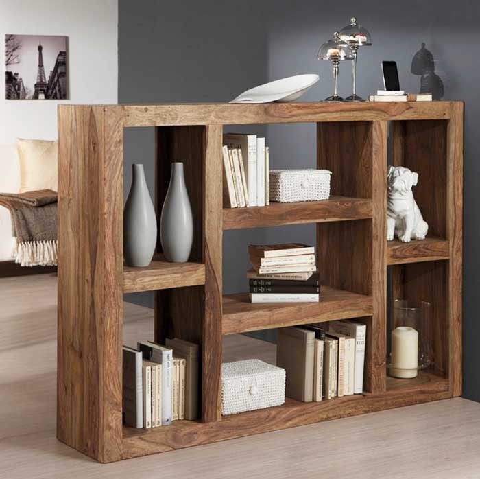 Regal raumteiler massivholz für wohnzimmer rustikal modern