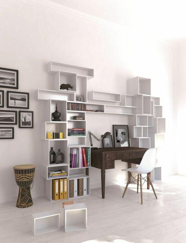 Regalsystem weiß Wohnzimmer Einrichtung kreative Wand