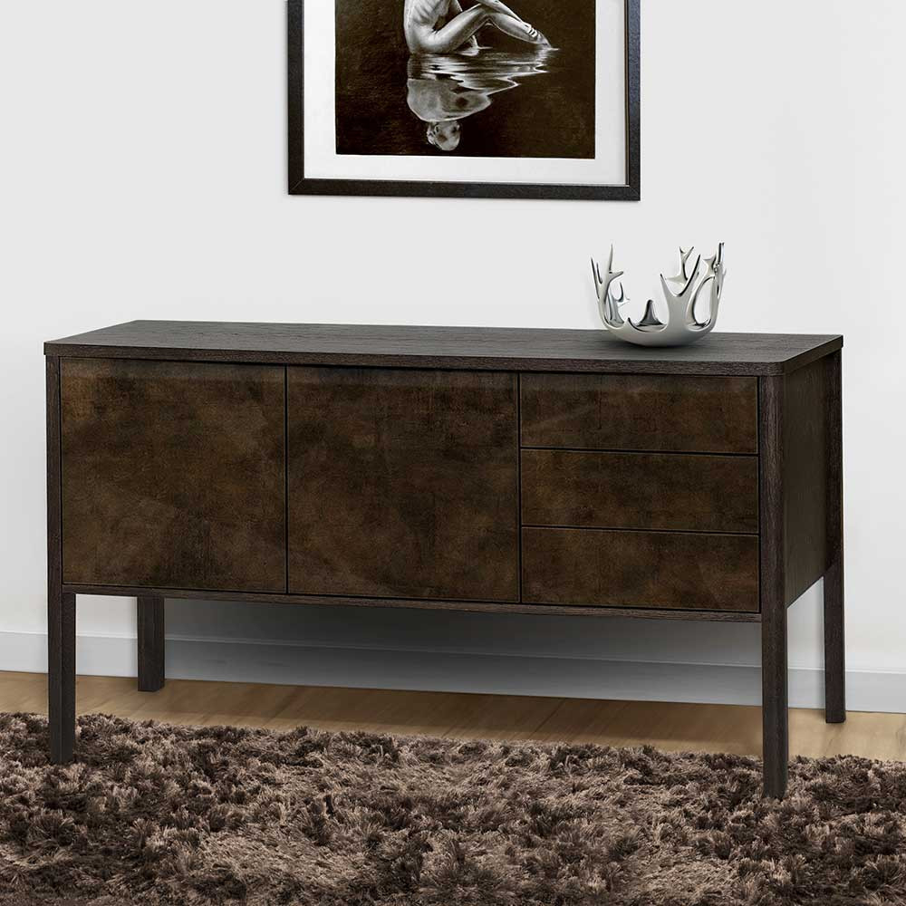 Retrostil Wohnzimmer Kommode Blondago in Bronzefarben modern