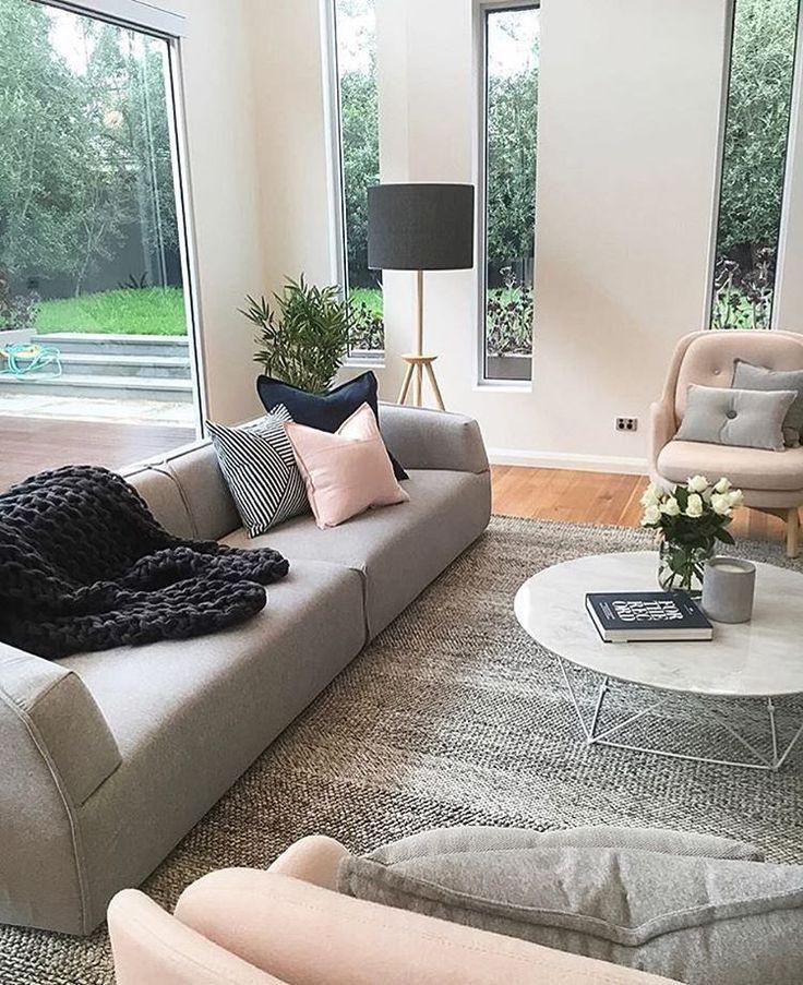 Schöne Dekoration Wohnzimmer Ideen Grau Rosa Wei