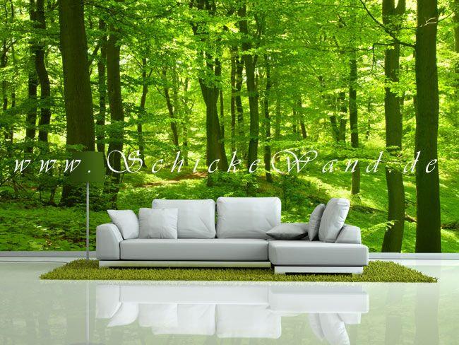 Stilvolle Wanddekoration mit Waldmotiv als Fototapete im