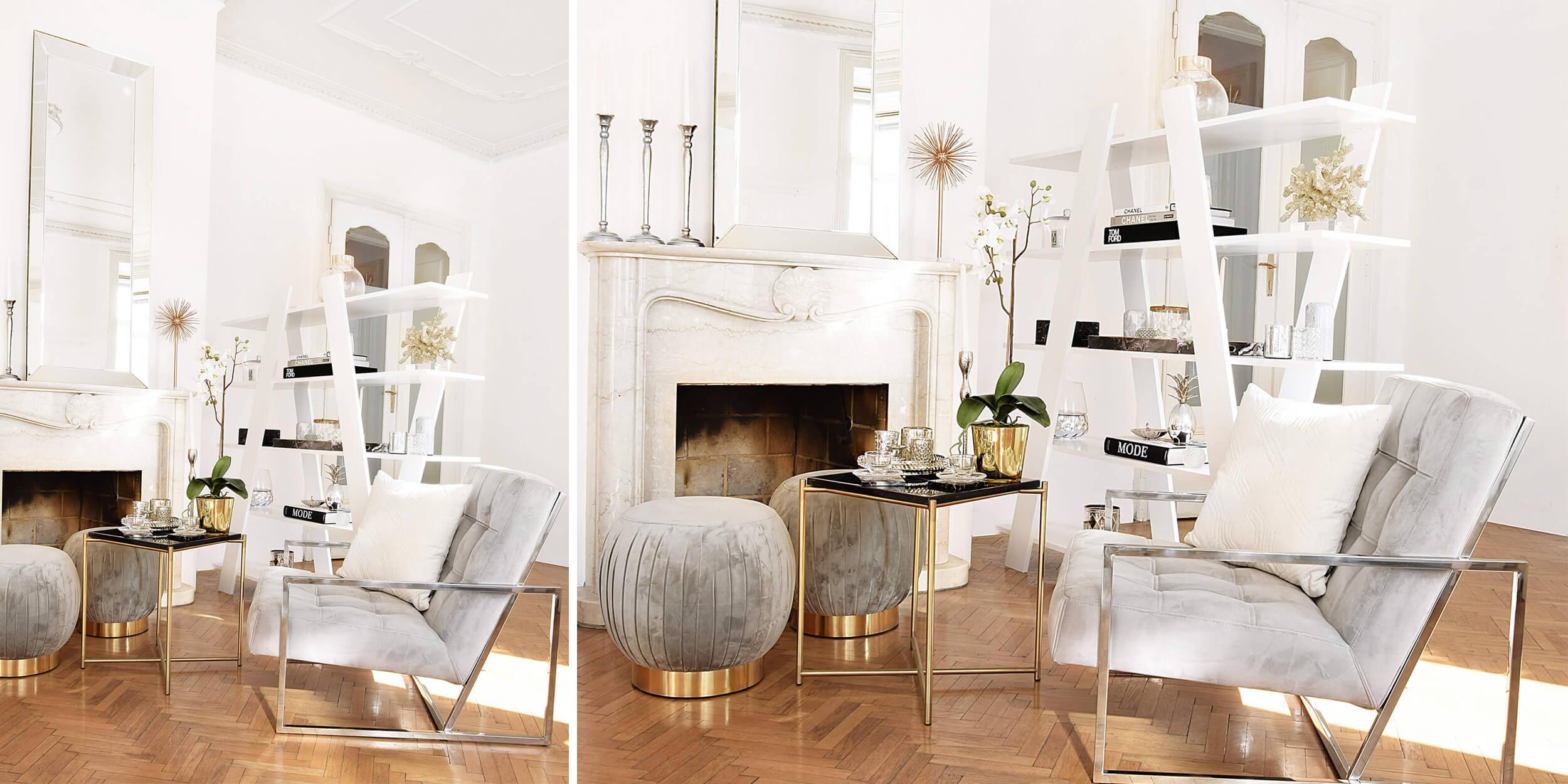 stylische Wohnzimmer Deko & ein trendiger Samtstuhl