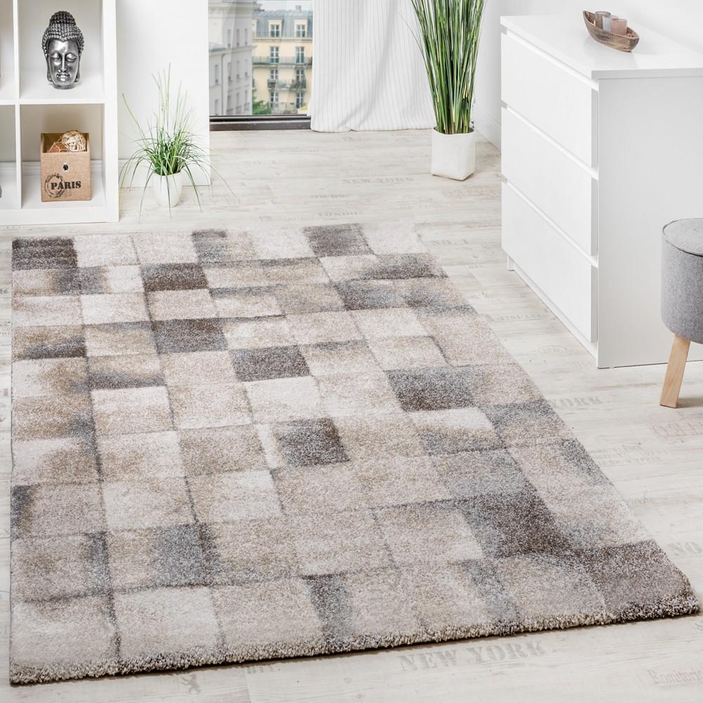 Teppich Meliert Modern Webteppich Klein Kariert Hochwertig