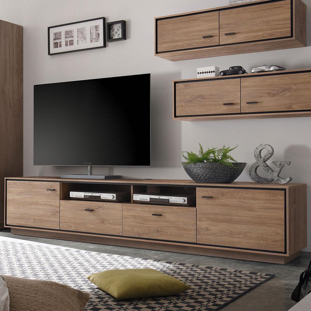 TV Lowboard Salinas Stirling Eiche schwarz Wohnzimmer