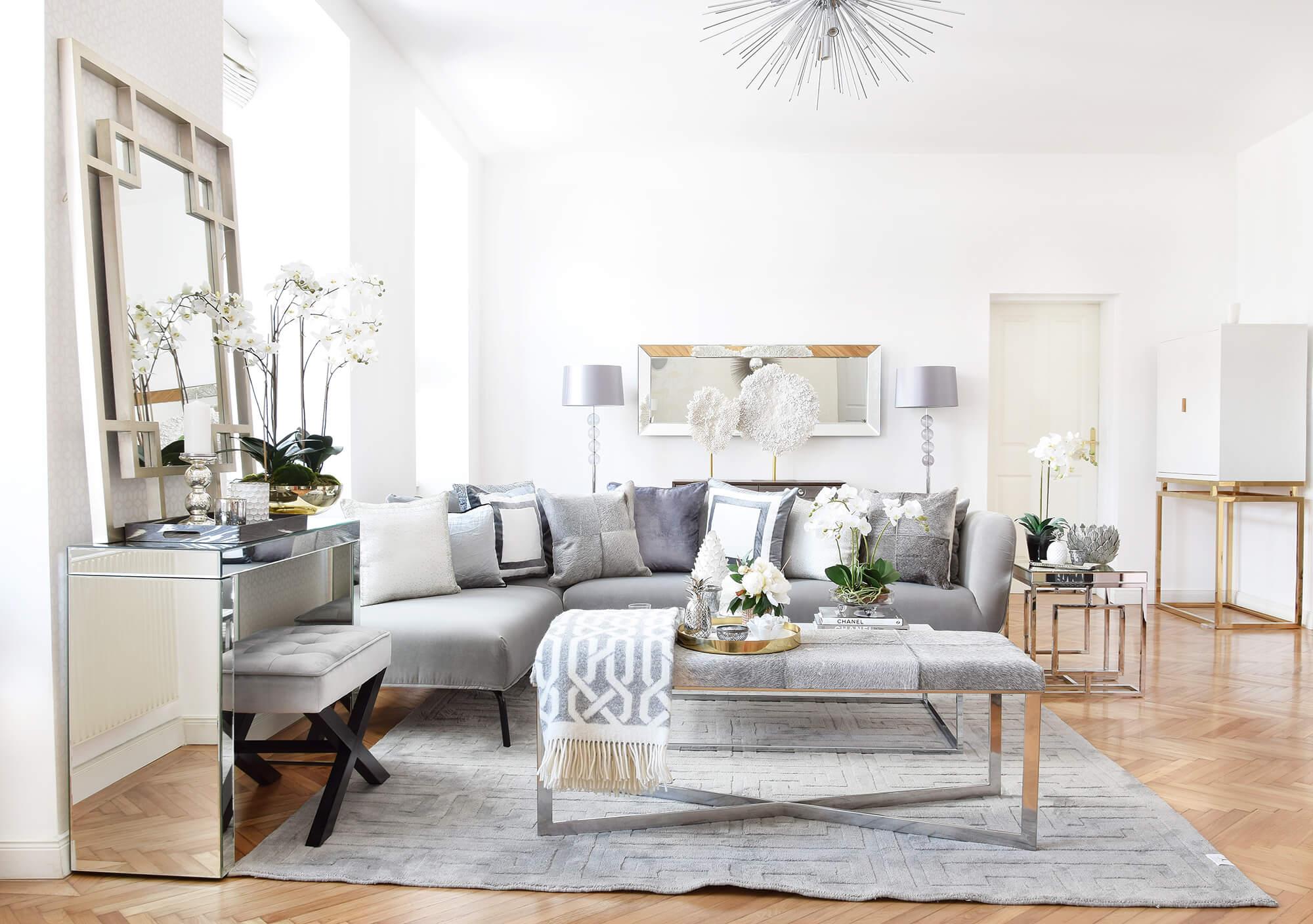 Urban Loft Livingroom Wohnzimmer in Silber & Grau Looks