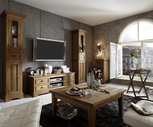 Vintage Wohnzimmer Set 6tlg Teak massiv TV Lowboard