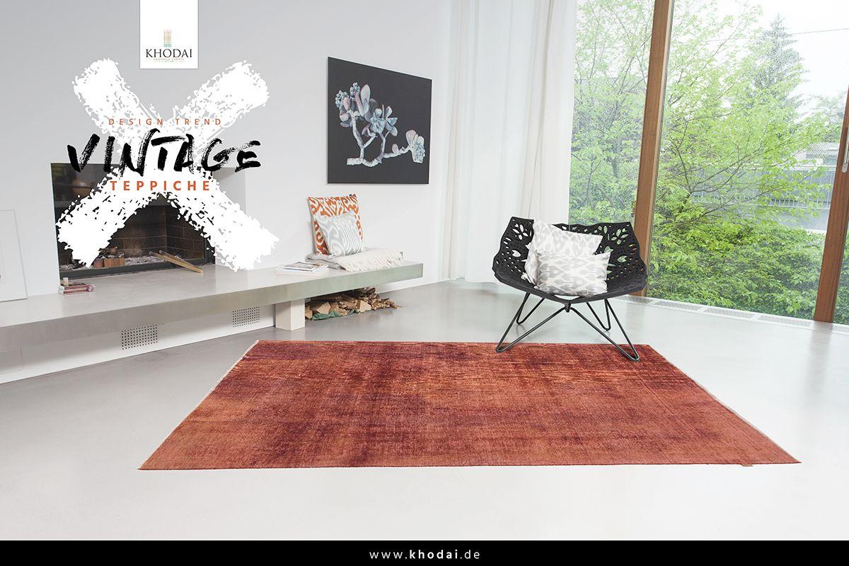 Vintage Wohnzimmer Teppich braun orange Vintage Carpets