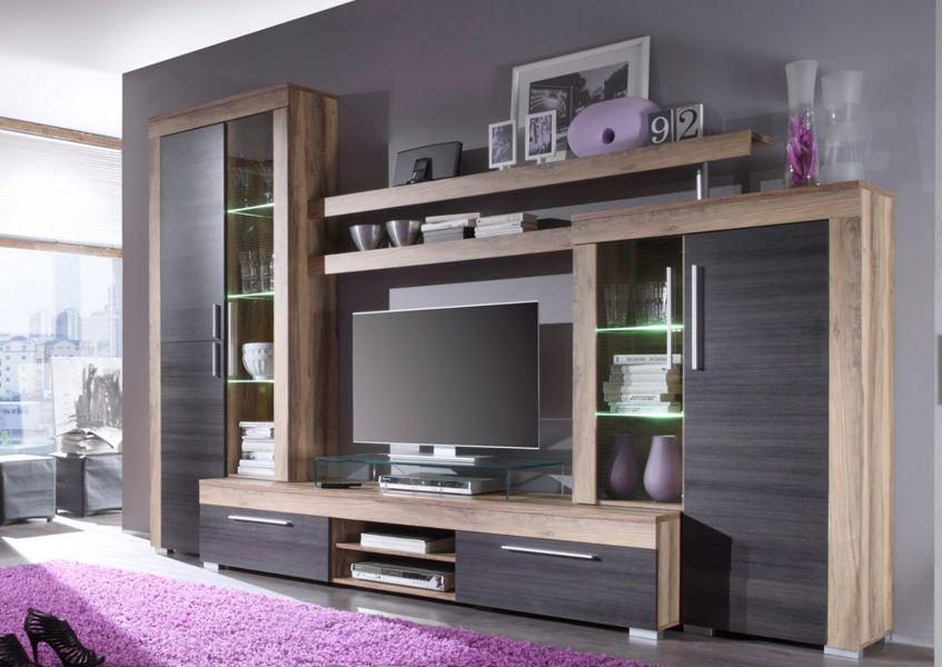 Vitrine Hochschrank Wohnzimmer Boom Nussbaum mit Touchwood
