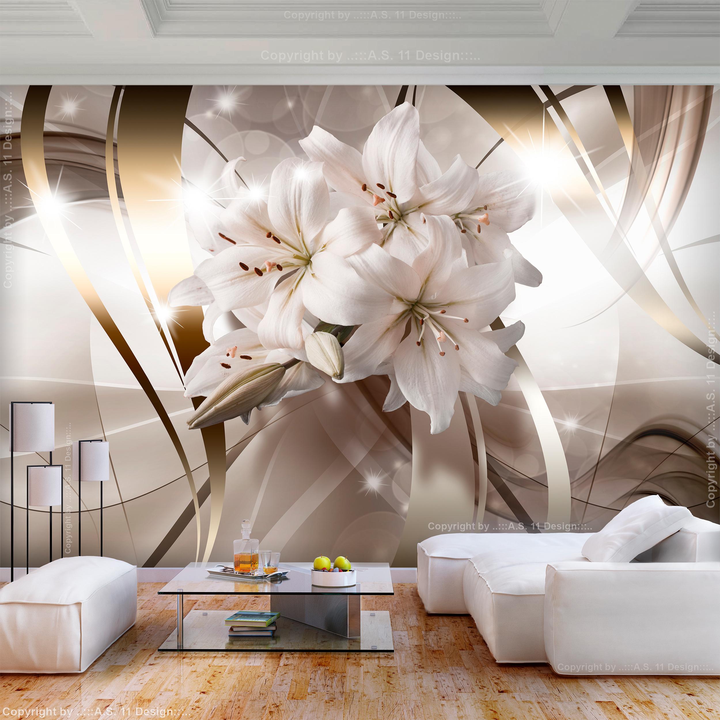 VLIES FOTOTAPETE Blumen Lilien weiß 3D effekt TAPETE