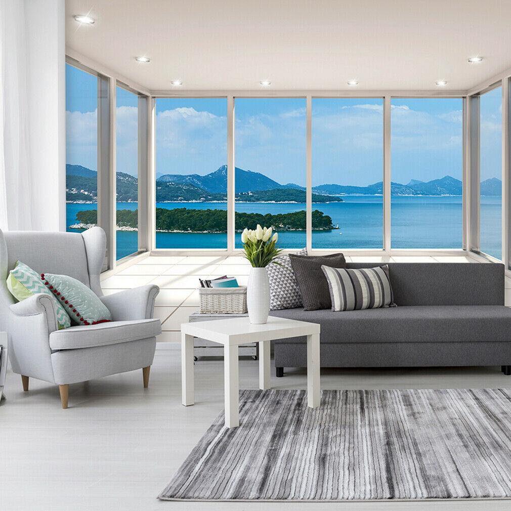 VLIES FOTOTAPETE MEER Insel Terrasse Fenster 3D TAPETE