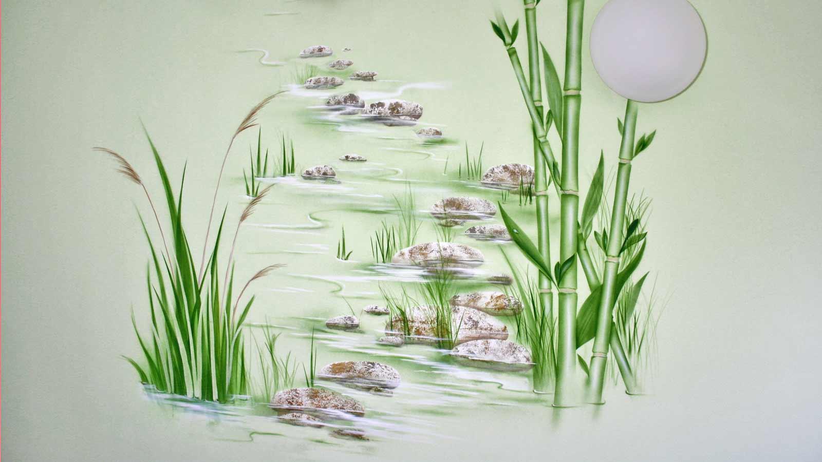 Wandmalerei Bambus Wasser