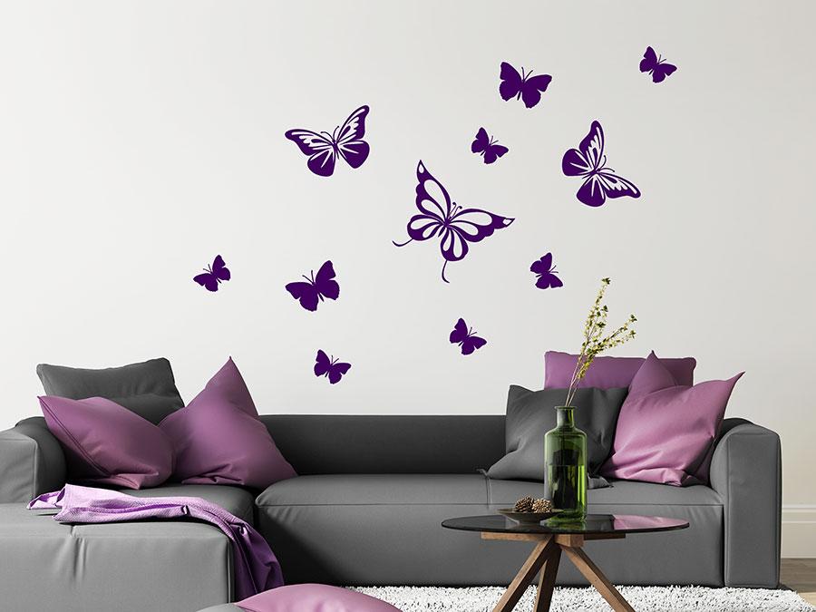 Wandtattoo Dekorative Schmetterlinge buntes Set
